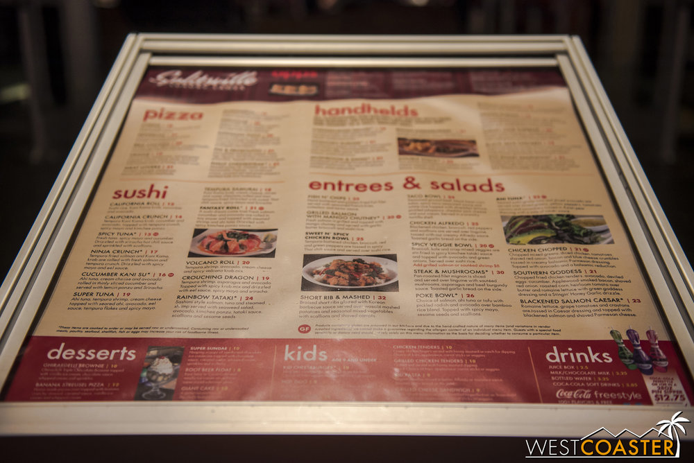 Here's a glimpse of the menu. It's a little pricey for the items, but I guess that's part Disney upcharge, part unique venue experience.