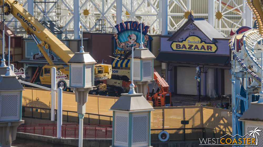 The wooden planks along the walkway have also been removed.
