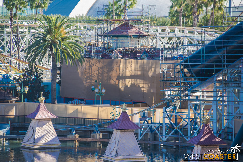 Work continues on the facade of Toy Story Midway Mania.