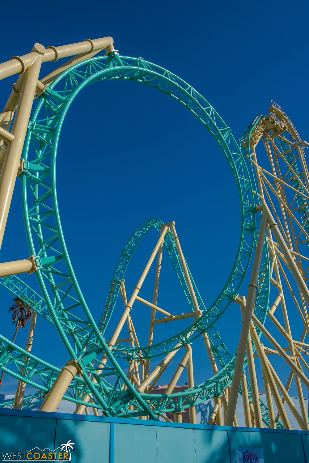 "The final ""cobra roll""/""boomerang"" swoops wide over the first drop."