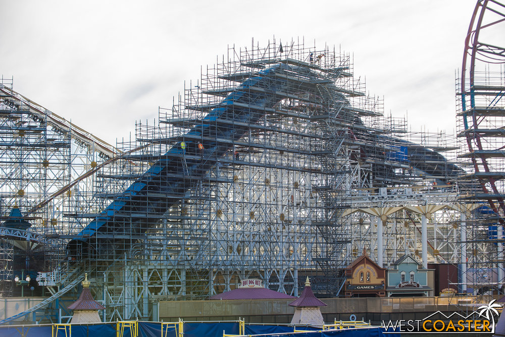 A bunch of scaffolding in place for repainting.