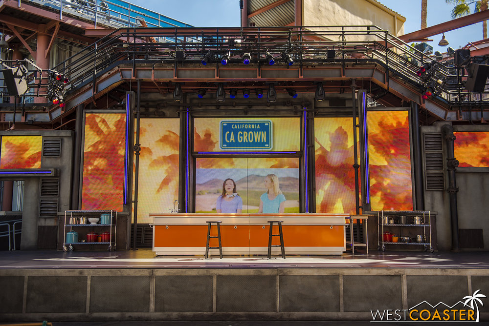 The stage in Hollywood Land for demonstrations and lectures.