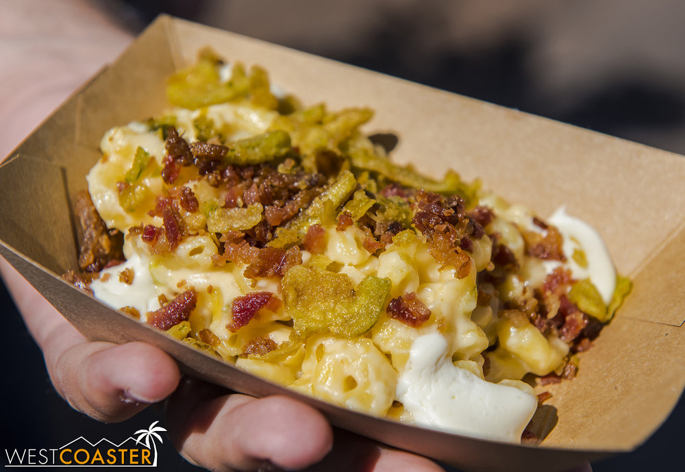 Jalapeño Popper Mac 'n' Cheese with Bacon @ Peppers Cali-Ente  Savory, hearty, with a small pop of spice. This is creamy goodness and much better than their Bacon Mac 'n' Cheese from last year but not as good as the OMG-wow French Onion Mac 'n' Cheese last year.