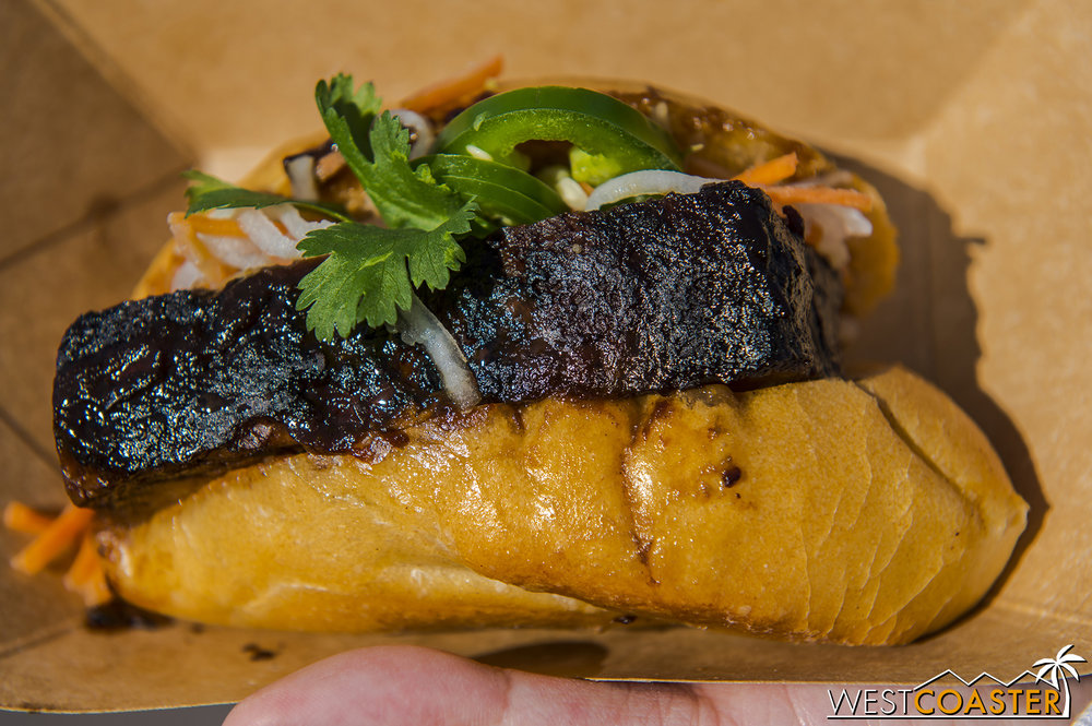 Black Garlic and Soy-braised Pork Belly Banh Mi @ Garlic Kissed  I was pretty full by the time I got to this, but it was still very delicious.  The flavor is most similar to the Adobo Pork Belly from last year, which was one of my favorites.  The miniature Vietnamese sandwich is balanced by the tangy pickled carrots and daikon, and the pork belly here is rich and smoky, with a bit of caramel flavor.