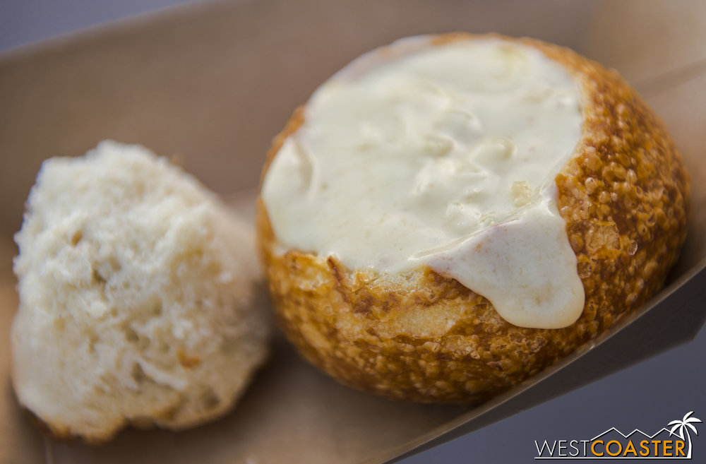 White Cheddar Lager Soup served in a Mini Boudin Sourdough™ Boule @ California Craft Brews  CHOUP!!!  Well, not exactly the original, but as close as you'll get.  Always a favorite at Food & Wine!