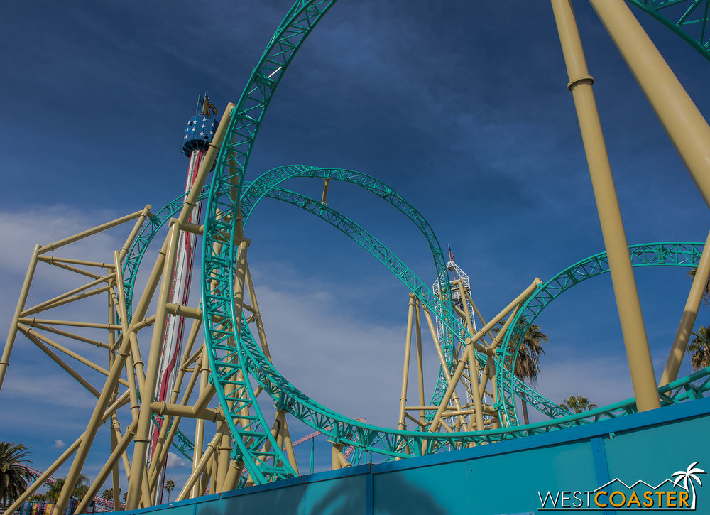Joking aside, I do think the coaster looks really pretty, especially on a sunny day.  The turquoise track goes well with the beachside theme.