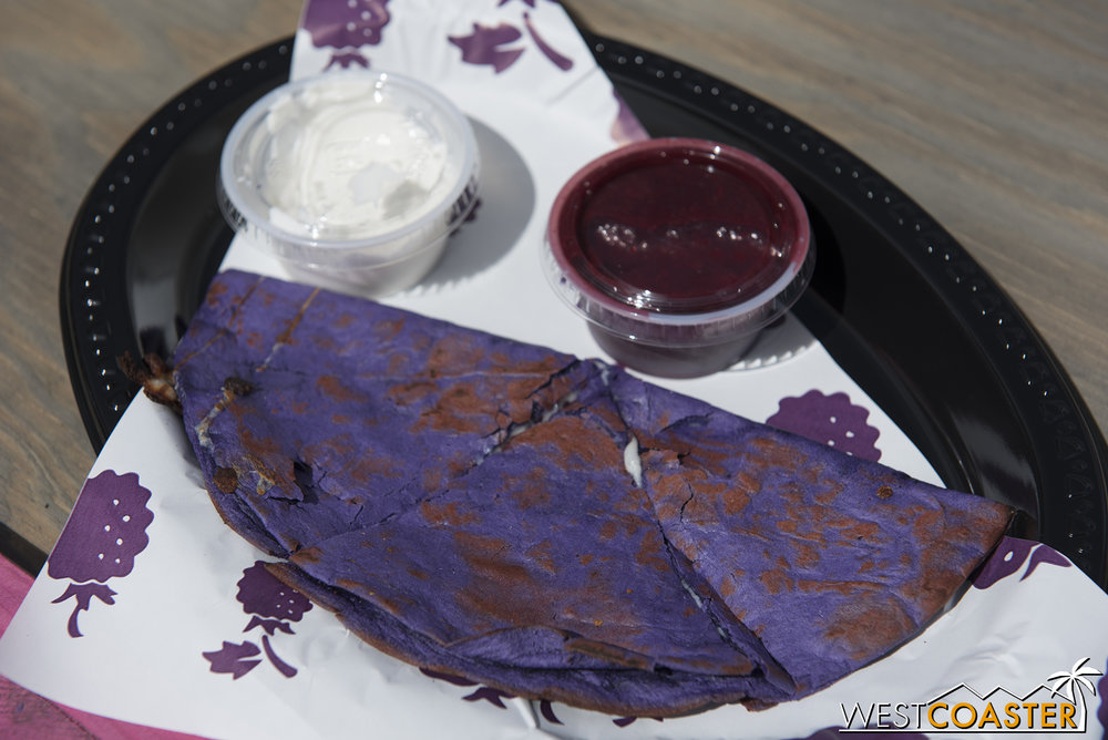 I personally enjoyed the Boysenberry Cheese Quesadilla, though I know others who were more lackluster toward it.  Mine happened to be hot and fresh off the grill.  The boysenberry sour cream was a nice fruit and dairy infusion, while the boysenberry salsa felt a lot like the relish.