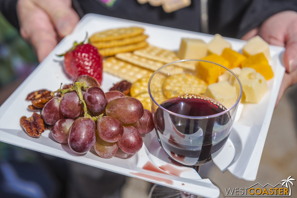 Buy a booze tasting card, get fancy hors d'oeuvres.  Or, well, not actually fancy.
