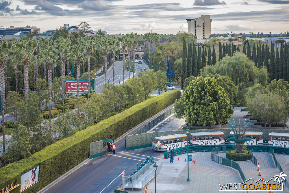 Take this crosswalk here to the pathway toward the corner of Disneyland Drive and Magic Way.