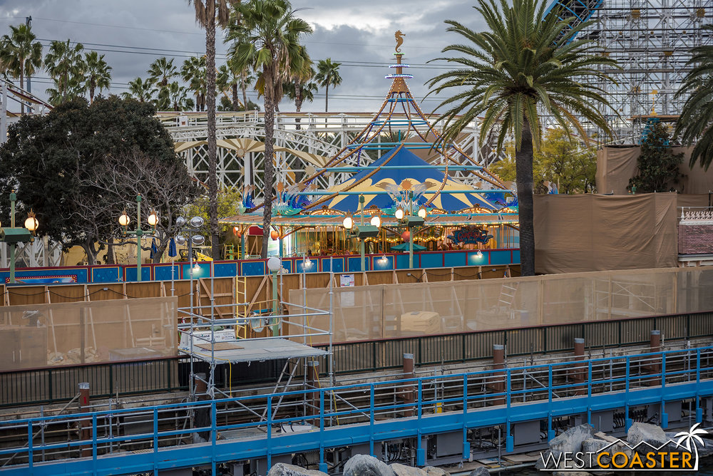 They're taking down the canopy and beginning the process of re-theming it.