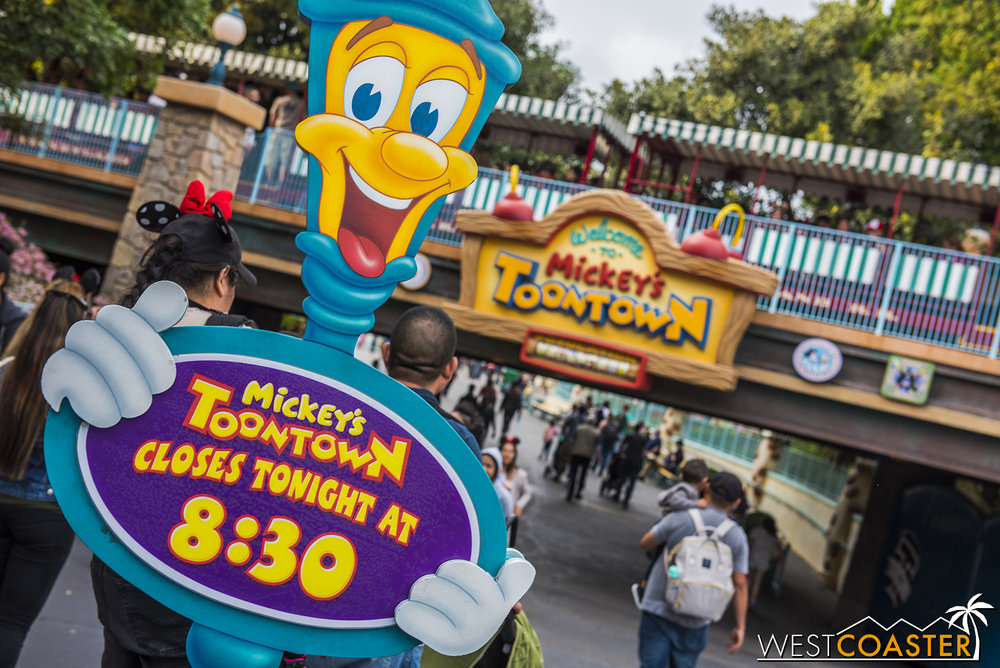 Mickey's Toontown had been open up until park closing until the fireworks recently resumed.  The early closing is actually a norm.