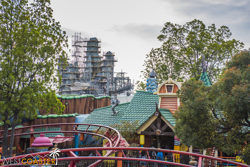 Here's how the rock spires are shaping up from the inside of the park.