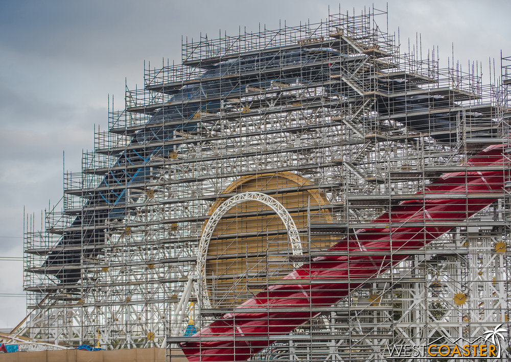 The second lift hill has not been fully enclosed yet, but they're getting there.