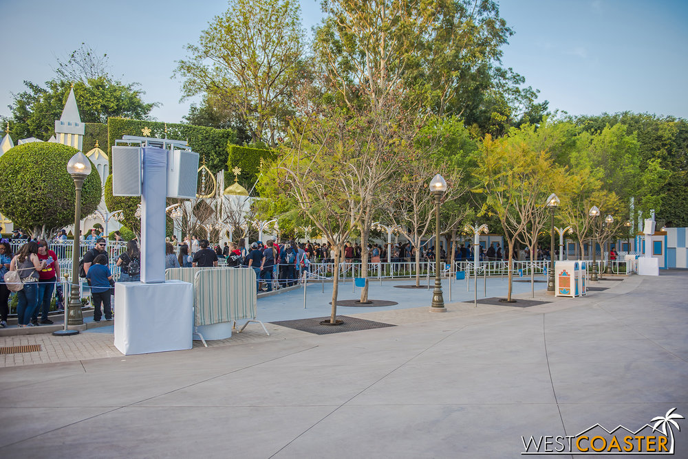 An a new extended queue tucked away out of the main pathway.