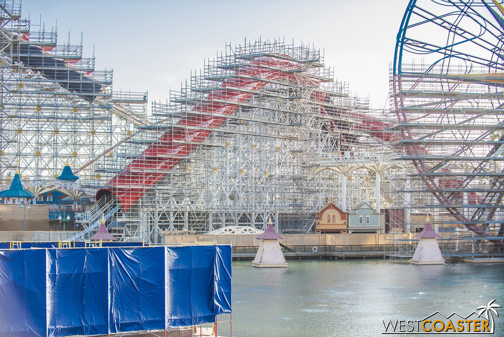 The Incredicoaster and Boardwalk games from across the water.