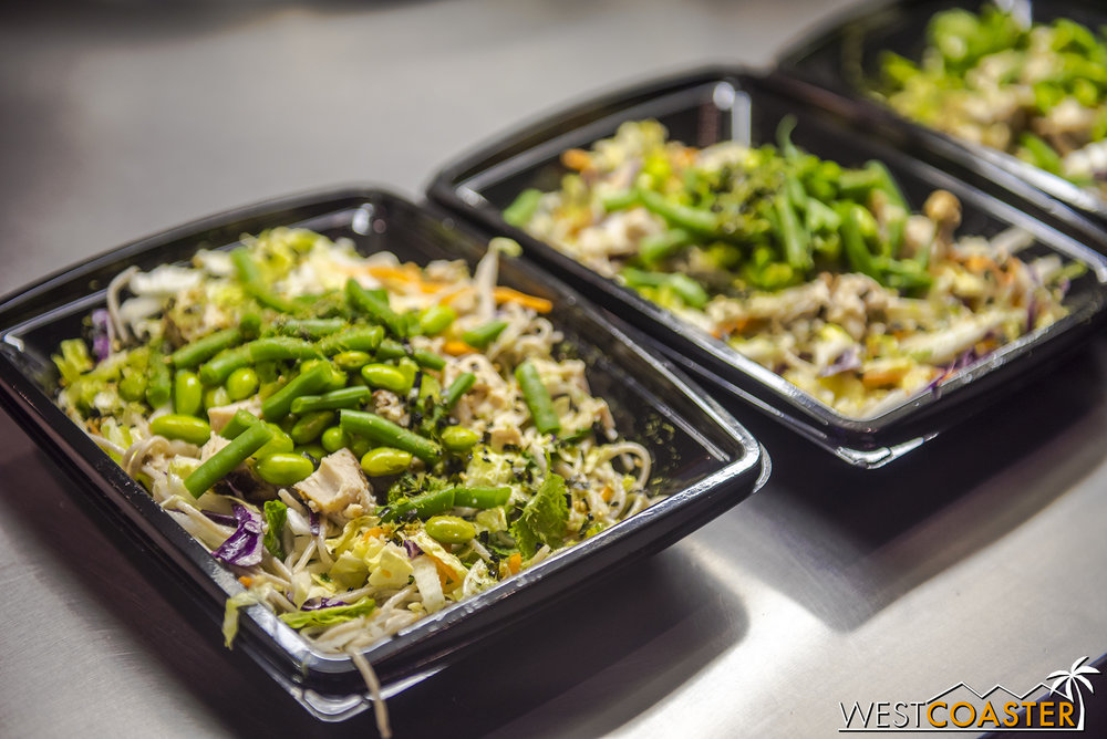 A few special items have been added to the Alien Pizza Planet menu, such as this Edamame Noodle Salad.