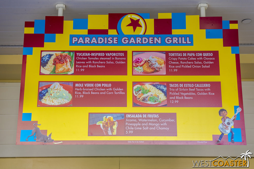 As expected, the Paradise Garden Grill has a new seasonal menu—this one featuring Mexican food inspired by  Coco .