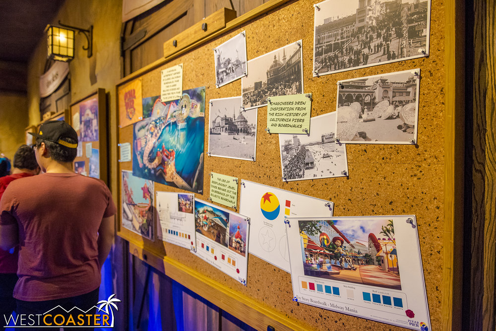 As part of Pixar Fest, the Imagineering sneak peak mini-museum has an exhibit featuring behind the scenes on the design of Pixar Pier.
