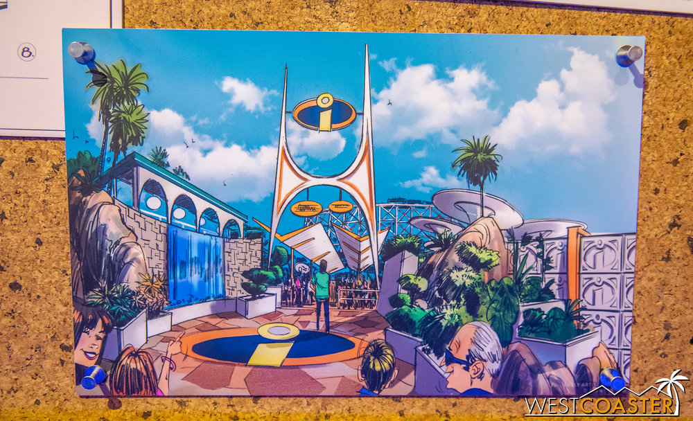 The entrance plaza around the Incredicoaster.