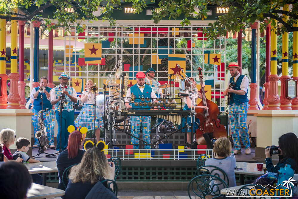 The Pixarmonic Orchestra jams at the Paradise Garden Bandstand.