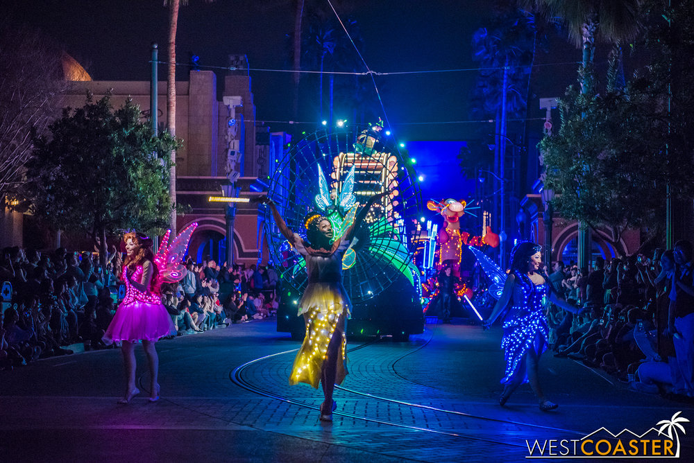 The parade starts from Paradise Pier and goes to Hollywood Land during its early evening run, then goes in reverse later at night.