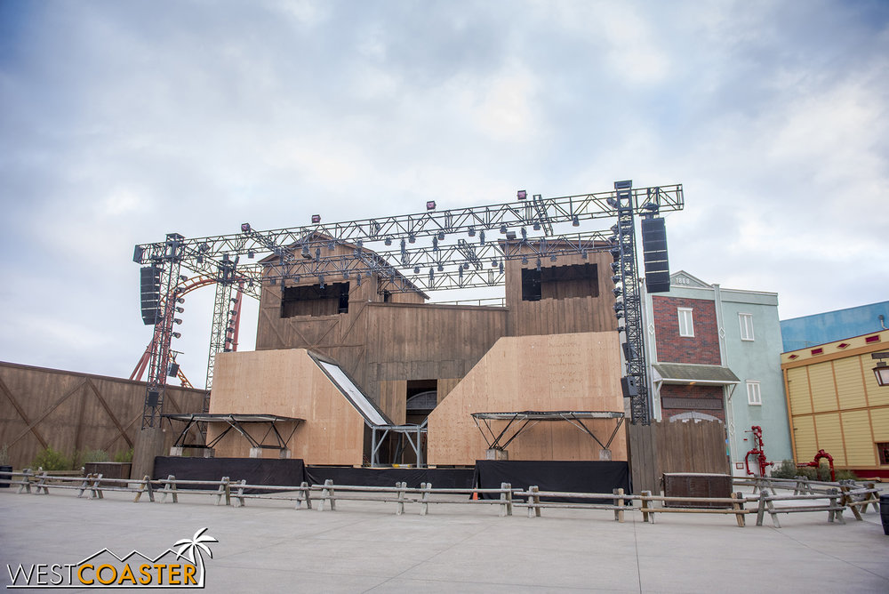 Also, they started building the stage for the summer extreme sports show.