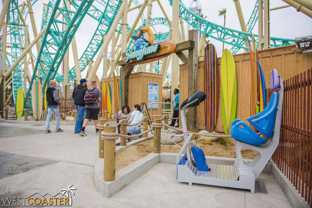 A tester seat is available in front of the queue entry for those who are unsure if they can safely fit on the roller coaster.