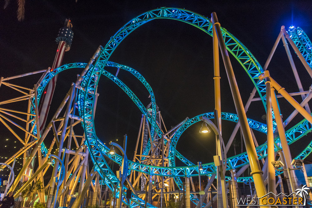 The lighting really showcases this ride like an ocean jewel.