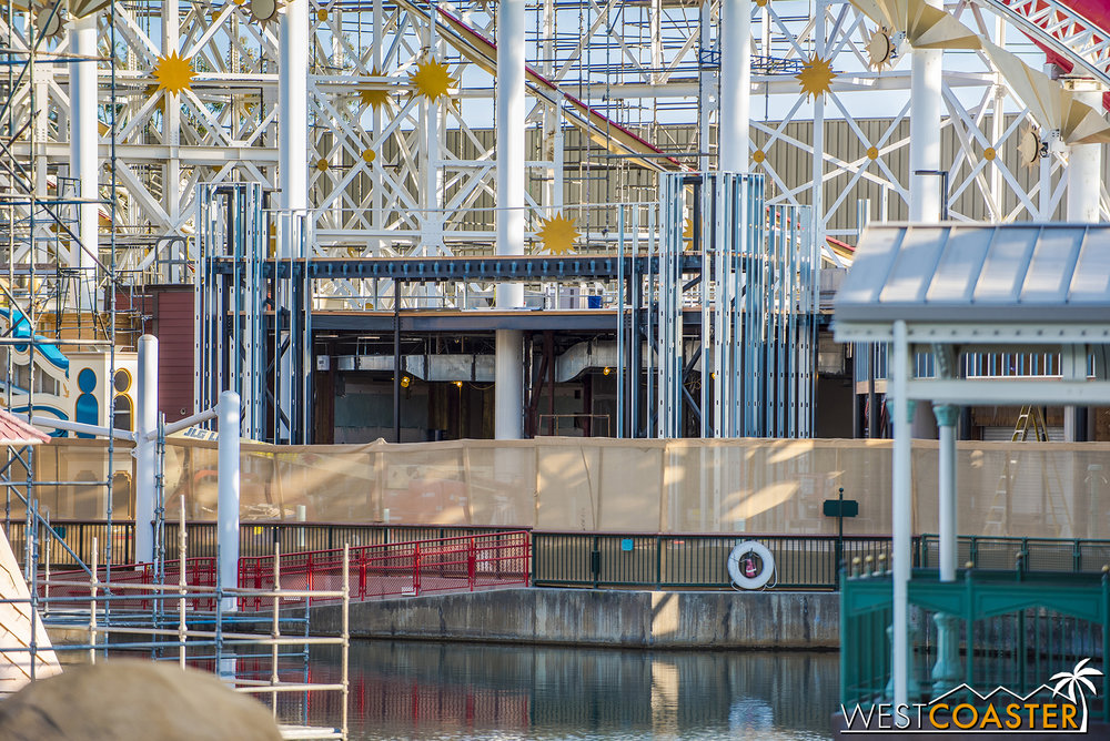 They're also continuing to work on the facade for the Pixar Pier boardwalk games area.