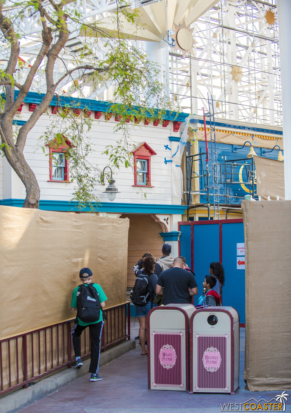 The main queue and Mr. Potato Head are being refurbished.