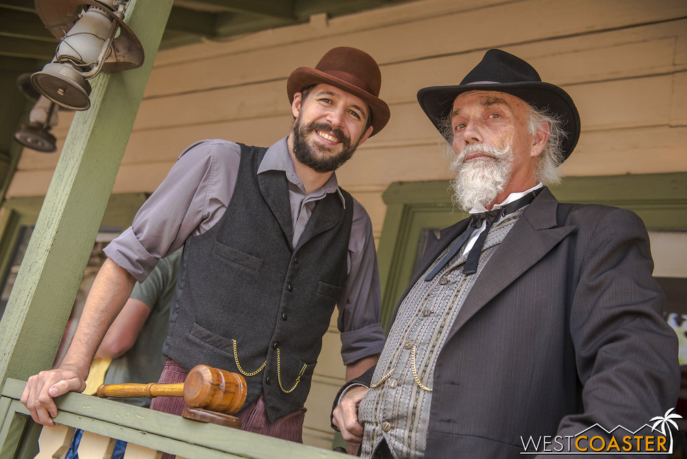 Town clerk, Kenny Storm (left) and Judge Roy Bean are also common fixtures at Town Hall.  They return from both season one and two.
