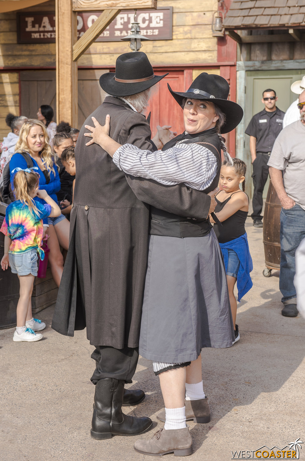 Phyllis tries to make Ox jealous by dancing with Judge Roy Bean.