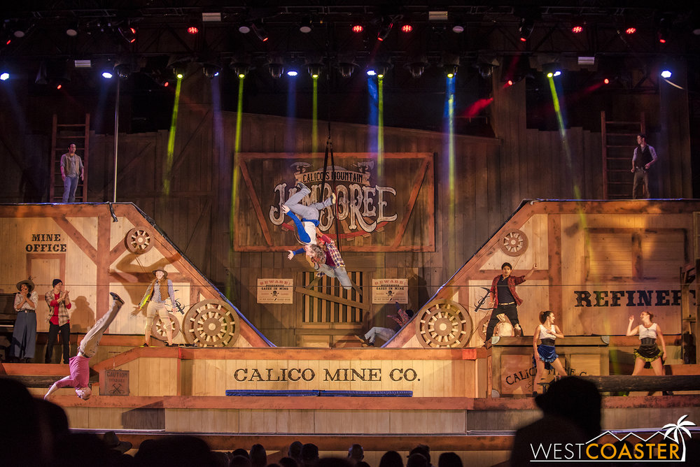 It's honestly a pretty cool show—a mashup of genres and gymnastics for a contemporary take of the park's classic summer stunt show concept.