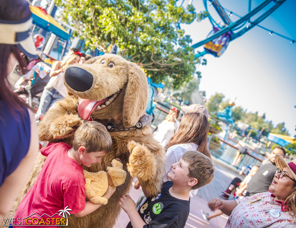 Pixar characters are also doing meet-and-greets out on Pixar Pier.  Here's Dug, being adorable.