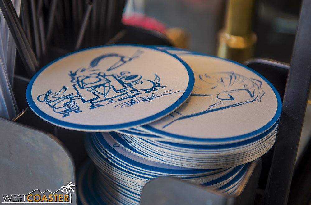 The coasters have dozens of designs on them.  A cool little thing Disney made!