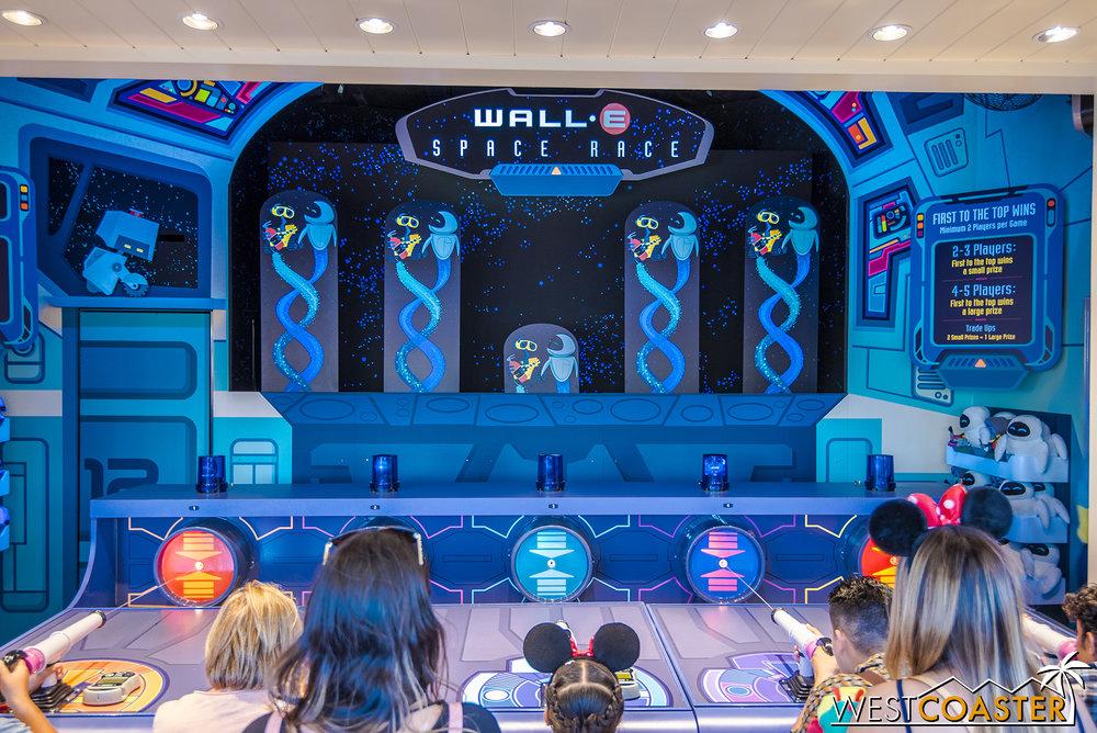 Wall*E hosts a water gun game.
