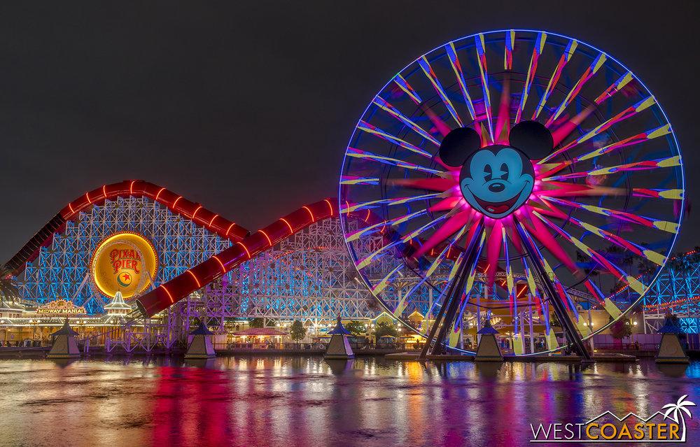 Nighttime at Pixar Pier.