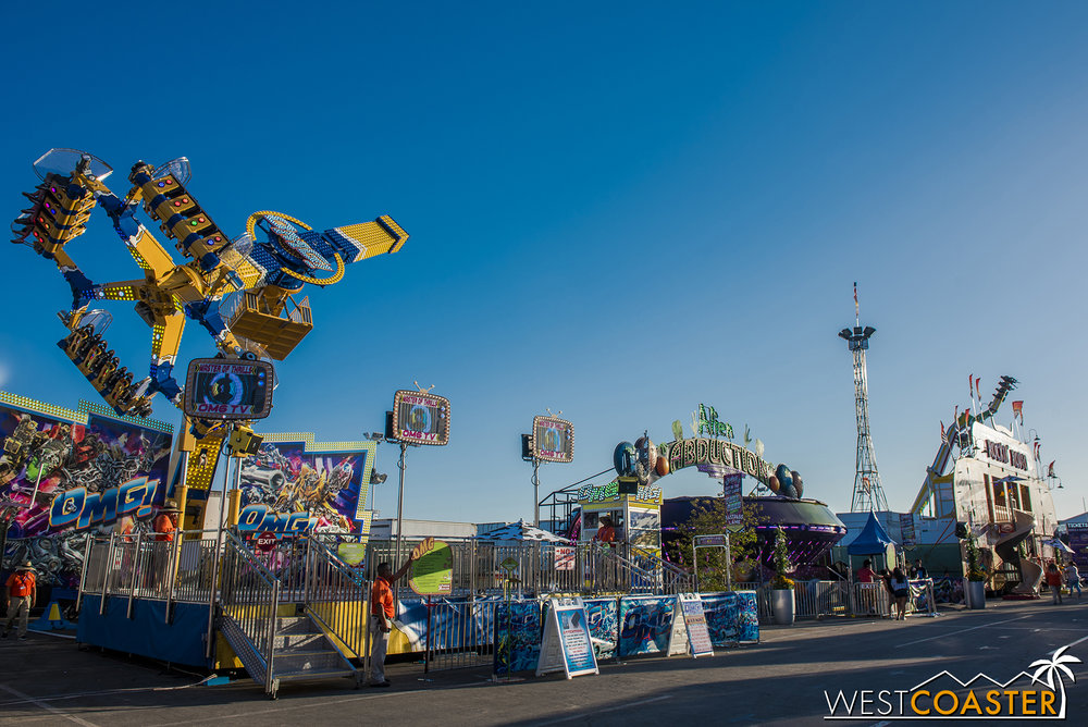 There are also more unique and extreme rides, like the OMG ride on the left.