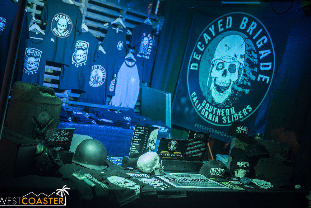 The Decayed Brigade had a nice booth of merch set up at Midsummer Scream.