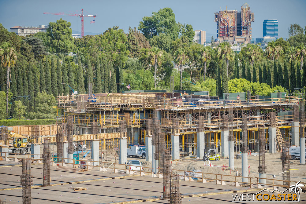On Friday, they were working on the second floor.  By Sunday, they were lifting the rebar cage for the first column of the third level.
