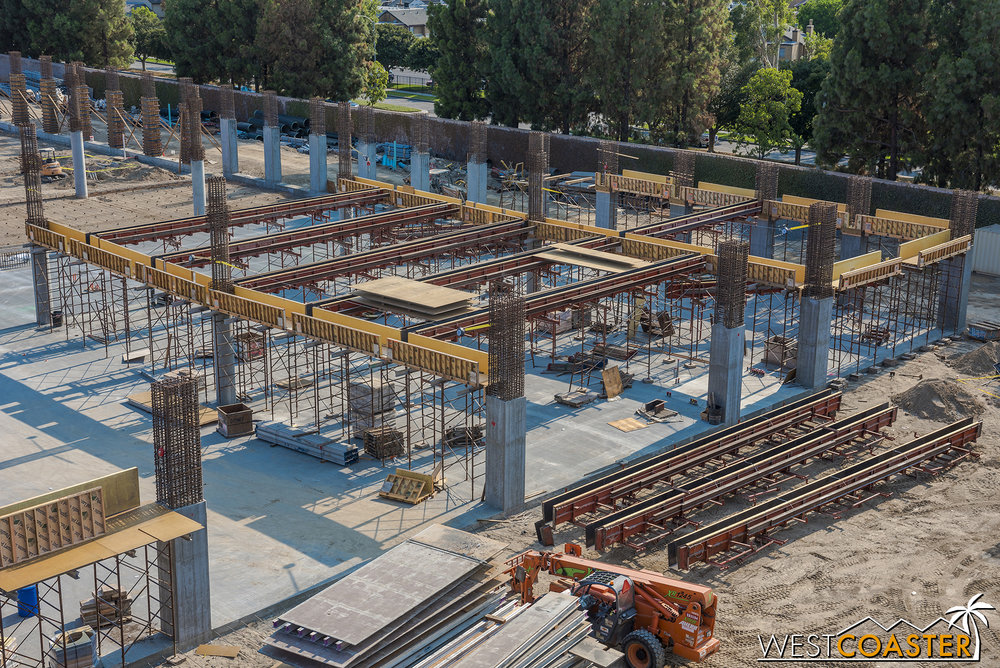 Over here, the formwork is only up for beams.