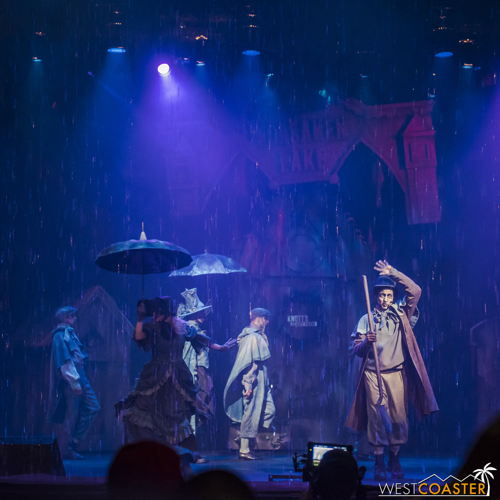 In the rain.  Because that's how you dramatically start a show off!