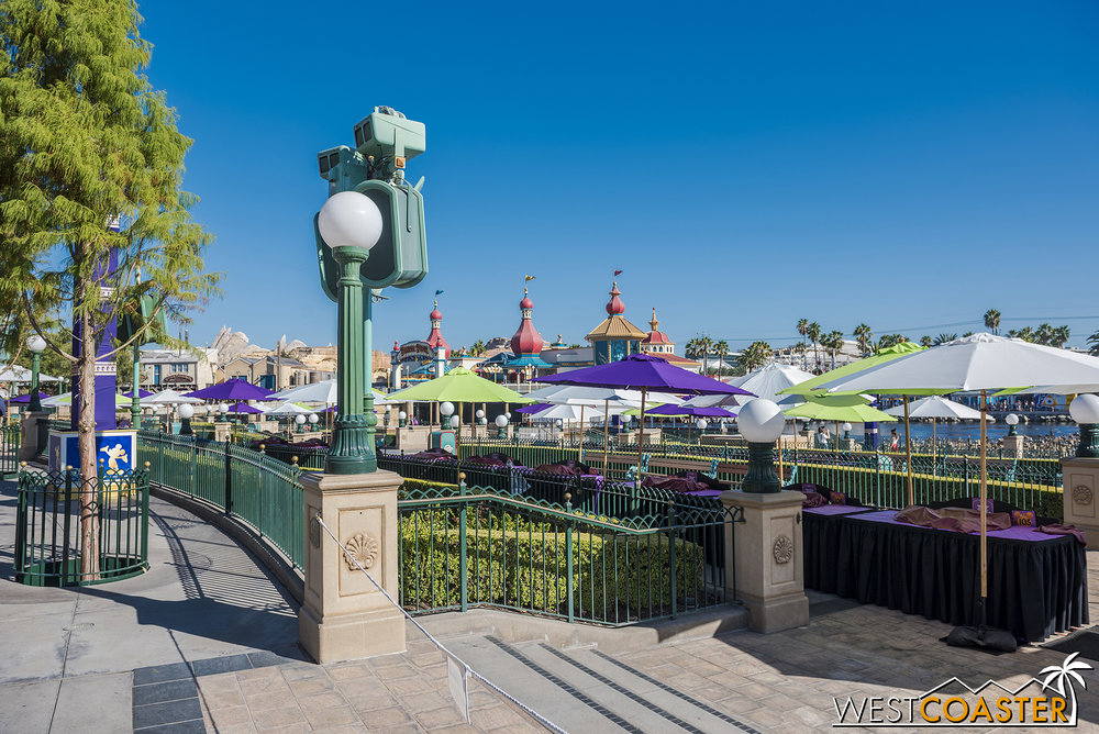A bunch of booths were set up along Paradise Park over the weekend.  Probably for a mass media promotion day that Disney occasionally has with local radio stations and news groups.