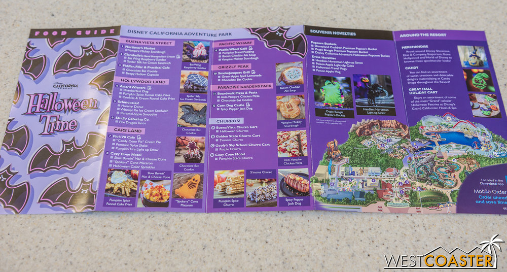 If you need a listing of what specialty food is found here, grab a food guide!  California Adventure is on one side, and Disneyland is on the back.