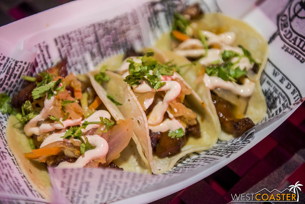 The Studio Catering Truck at the back of Hollywood Land has these Fire Dragon Tacos—pork belly tacos with kimchi slaw, Korean BBQ sauce, and Sriracha crema.  Unfortunately, the pork belly wasn't really that tender, though I liked the overall flavor.  The tacos are also definitely street sized and a little steeply priced for the result.