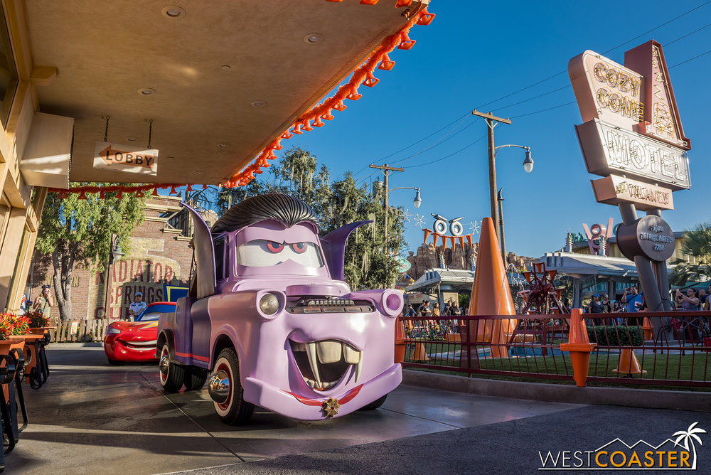 Uh oh, he's creepin' up behind Mater!