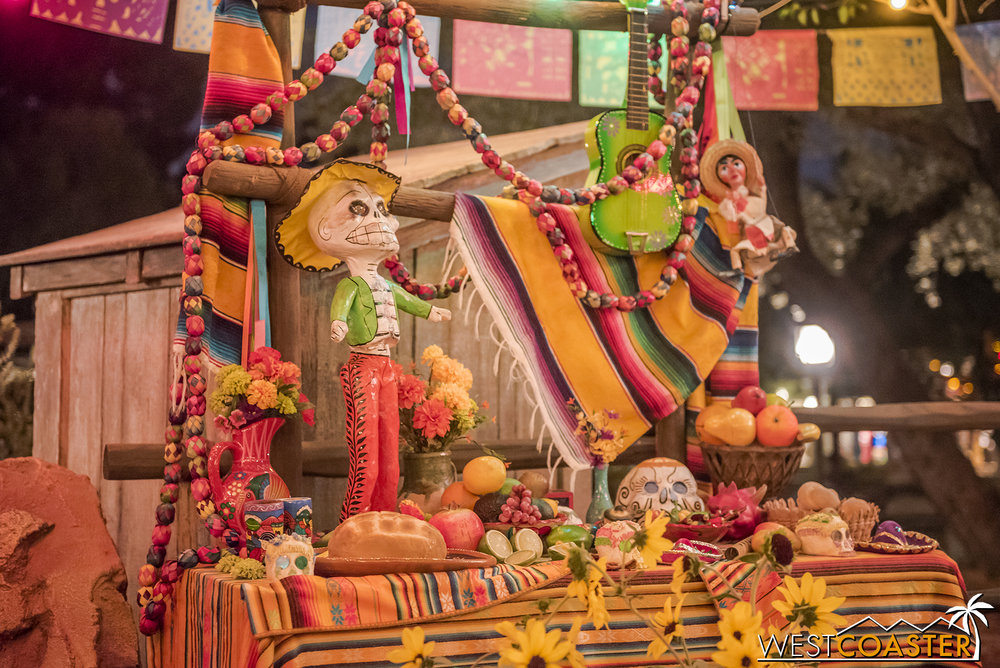 Various goodies are shown at the  ofrendas , or offerings for the dead.