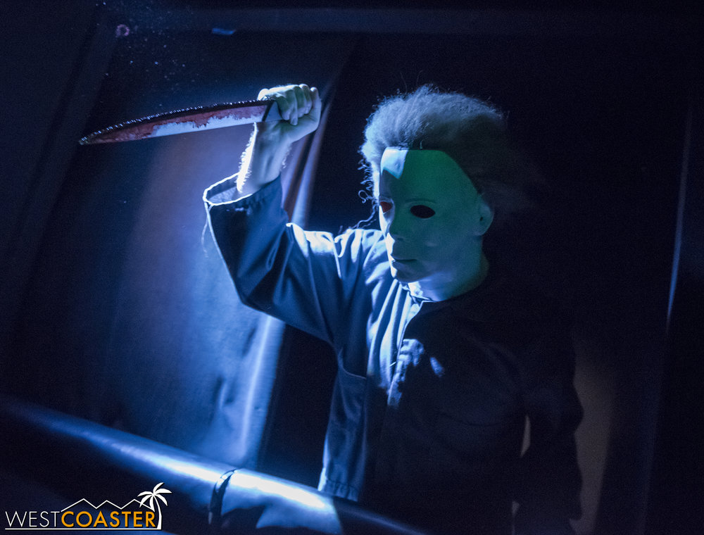 """Michael Myers in the Halloween 4 maze, one of countless """"Boo Box"""" scares."""
