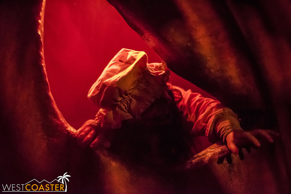 Trapped inside a giant jack-o-lantern.