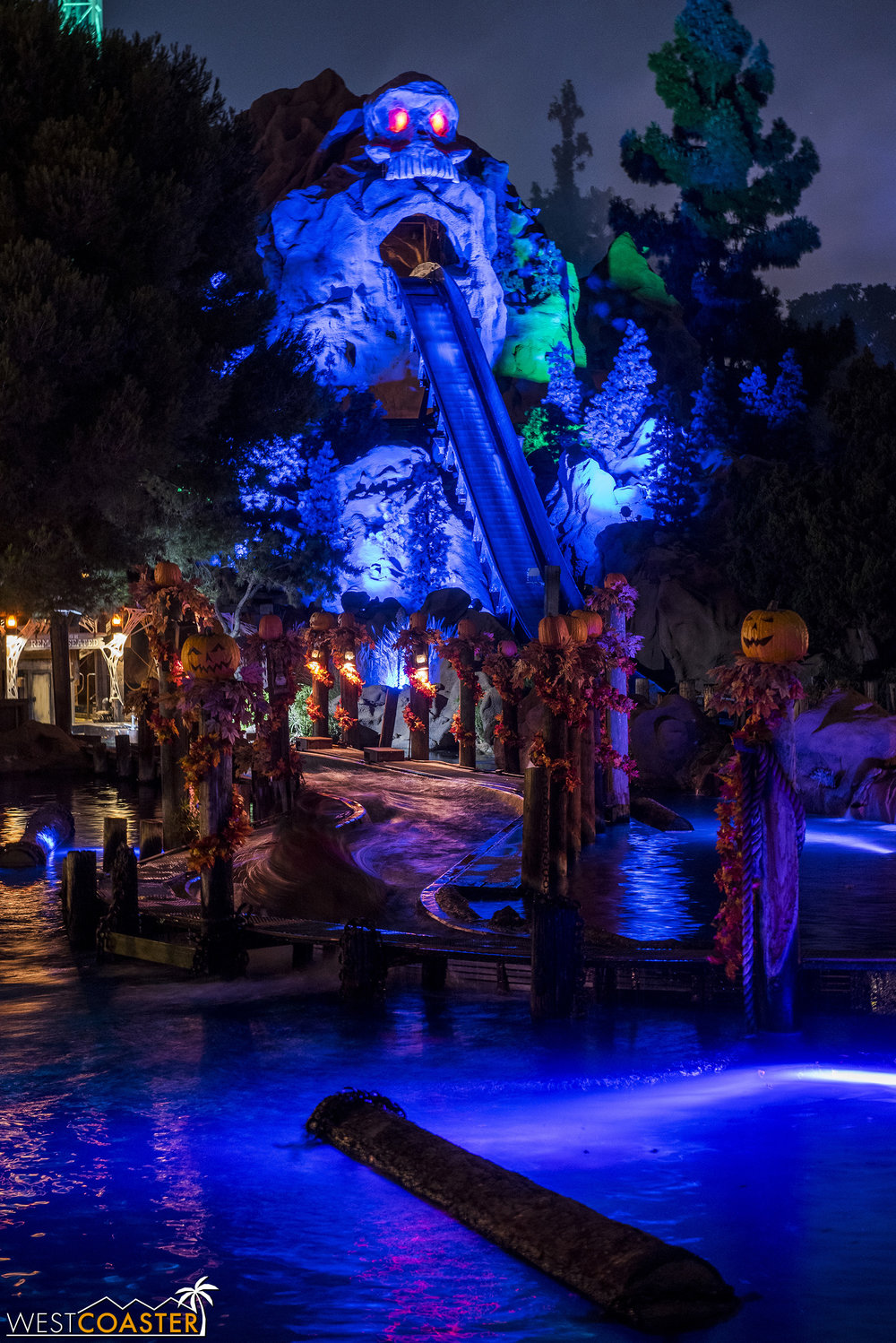 The Log Ride looks sublime at night during Haunt.